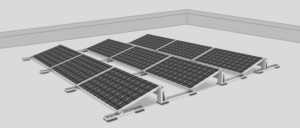 Roof Mounted Solar Panels Ballasted South Facing Mounts