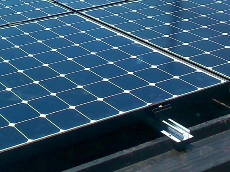 Sunpower solar panels on trapezoidal roof
